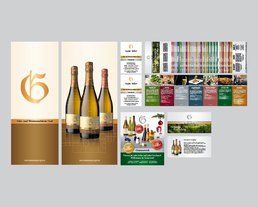 Printmedien Rollups, Fahnen, Visitenkarten, Flyer, Anzeigen, Einladungskarten für die Sekt- und Weinmanufaktur Graf und das Genusswerk