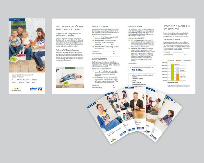 Kommunikationskonzept Zehn verschiedene achtseitige Faltblätter für die Volksbank Dreieich in einheitlichem Kommunikationskonzept, unter anderem zu den Themen Image, Mitgliedschaft, Konto und Karten, Versicherungen, Vorsorgen, Kredite, Sparen und Anlegen