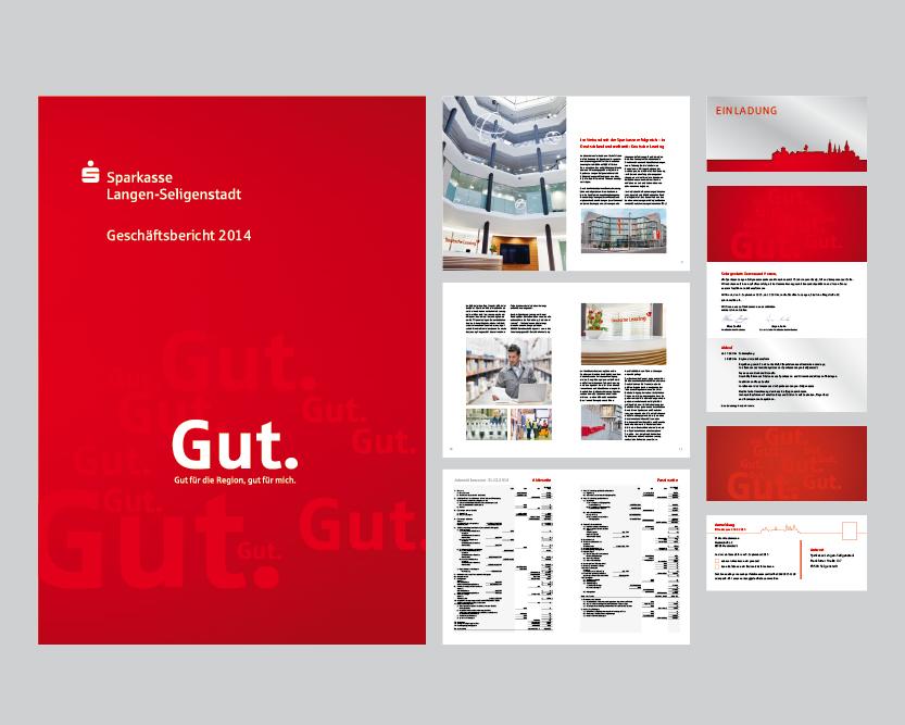 Geschäftbericht und Einladungskarte mit Laserstanzung für die Sparkasse Langen-Seligenstadt