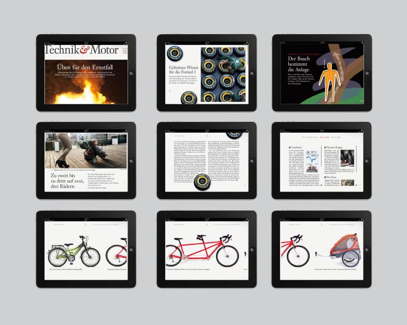 iPad-Version der F.A.S. Titelseiten verschiedener Ressorts Die Titelseite jedes Ressorts erstreckt sich je nach Fotomotiv über zwei iPad-Seiten, Bilder können gezoomt werden, dabei öff net sich die versteckte Bildunterzeile, Infokästen können gescrollt werden; die Titelleiste jedes Ressorts kann gescrollt werden und weitere Text-Teaser werden sichtbar, durch Klicken gelangt man direkt zum Artikel