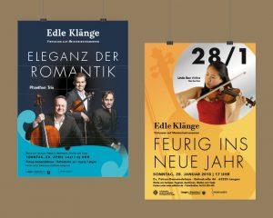 """Plakatgestaltung für die Veranstaltungsreihe """"Edle Klänge"""" – Virtuosen auf Meisterinstrumenten"""