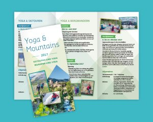 Corporate Design Logo, Visitenkarten und Gestaltungskonzept für Yoga Sucha und Yoga & Mountain